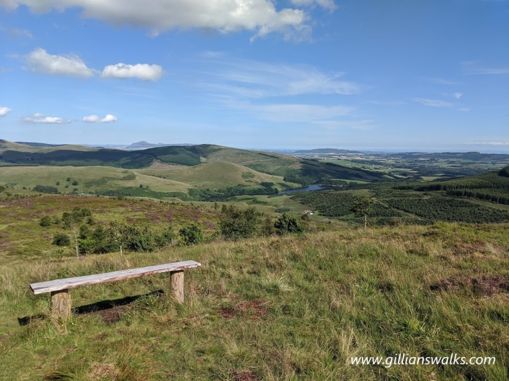 Bench overlooking the Lomond Hills and the Firth of Forth